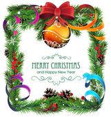 Orange Christmas ball with bow and ribbons — Stockvektor