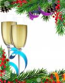 Glasses of champagne and Christmas tree branches — Stock Vector