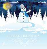 Snowman with a broom — Stock Vector