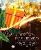 在波光粼粼的背景上的橙色圣诞礼物 — 图库矢量图片