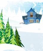 房子在一片松树林 — 图库矢量图片