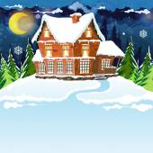 House in winter forest — Stock Vector