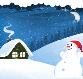 House and snowman — Stock Vector