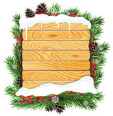 Christmas tree branches and wooden billboard — Stock Vector