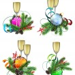 Christmas decoration elements with champagne — Stock Vector #60079431