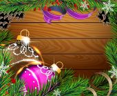 Baubles and fir branches on wooden board — 图库矢量图片