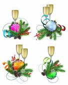 Christmas decoration elements with champagne — Stock Vector