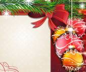 Christmas tree branches with bow and baubles — 图库矢量图片