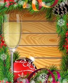 Glass of champagne and red Christmas decoration — 图库矢量图片