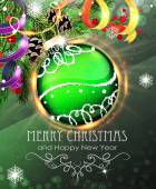 Green Christmas bauble with fir branches and tinsel — Vector de stock