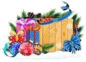 Baubles and Christmas presents on wooden background — Cтоковый вектор