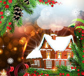 House on abstract Christmas background — Stock Vector