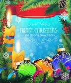 Adornos de navidad sobre fondo azul — Vector de stock