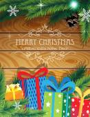 Christmas Gifts on wooden background — Stock Vector
