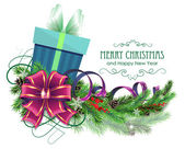 Christmas present with purple bow and fir branch — Stockvektor