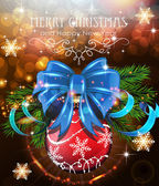 Christmas tree branches with blue bow and red bauble — Vector de stock