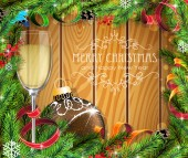 Glass of champagne and brown Christmas ball — Vector de stock