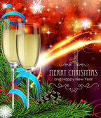 Glasses of champagne on Christmas background — Vector de stock