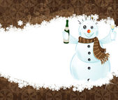 Snowman with a bottle of champagne — Stock Vector