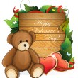 Valentine teddy bear with  hearts and foliage — Stock Vector #63269843