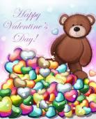Cute teddy bear with hearts — Stock Vector