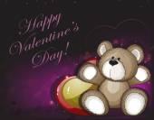 Teddy bear and hearts — Stock Vector