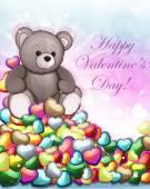 Teddy bear and Valentine hearts — Stock Vector