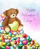 Teddy bear with hearts — Stock Vector
