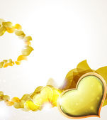 Valentine hearts and  yellow petals — Stock Vector