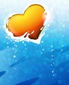 Coração dos namorados em fundo azul — Vetor de Stock
