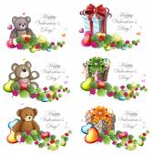 Valentine Teddy Bears and gift boxes — Stock Vector