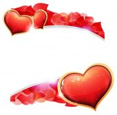Valentines day hearts and  petals — Stock Vector
