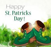 Leprechaun shoes and clover — Stock Vector