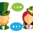 Male and female leprechauns icons — Stock Vector #66079325