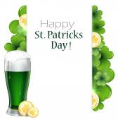Leprechaun beer with clover and coins  — Stock Vector