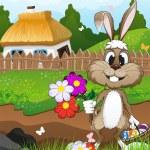 Easter bunny near a farmhouse — Stock Vector #68482593