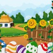 Rural landscape with house and painted Easter eggs — Stock Vector #68485337