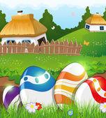Huevos de Pascua en el césped y casas rurales — Vector de stock