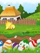 Easter rural landscape — Stock Vector