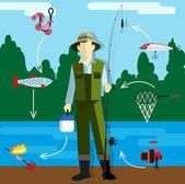 рыбак на берегу реки — Cтоковый вектор