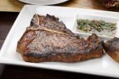 T-bone steaks  with vegetables — Stok fotoğraf