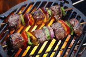 Kebabs with vegetables on grill — Stok fotoğraf
