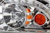 Car headlight and dimensions — Stock Photo