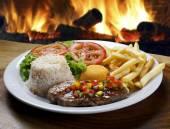 Pork steak with rice — Stock Photo