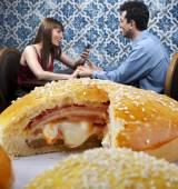 Close up Couple at lunch — Stock Photo