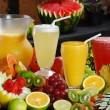 Composition with juices and different fruits — Stock Photo #69242975