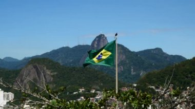 Brazil flag with the Christ Redeemer — Stock Video