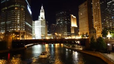 The Chicago River , Great Lakes — Stok video