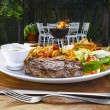 Roast beef with vegetables and salad — Stock Photo #69897509