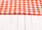Tablecloth red and white checkered wavy on board  — Stock Photo